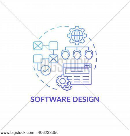 Software Design Concept Icon. Co-design Application Field Idea Thin Line Illustration. Envisioning A