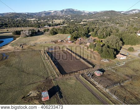 Aerial View Of Valley With Small Farm In Julian, San Diego County, California, In The United States