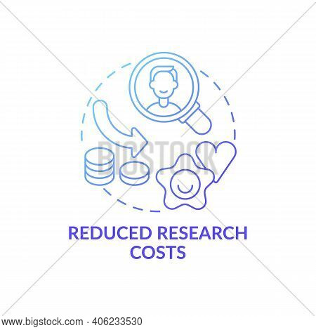 Reduced Research Costs Concept Icon. Open Innovation Benefit Idea Thin Line Illustration. Cost Reduc