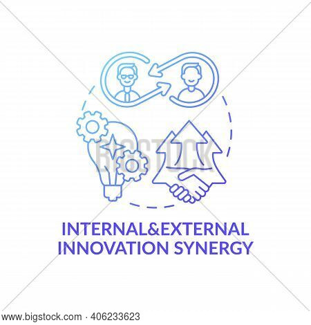 Internal And External Innovation Synergy Concept Icon. Open Innovation Benefits Idea Thin Line Illus
