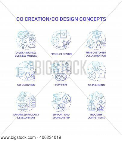 Co-creation Concept Icons Set. Co-design Idea Thin Line Rgb Color Illustrations. Launching New Busin