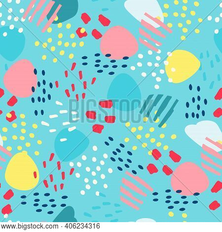 Seamless Pattern With Hand Drawn Abstract Elements For Surface Design And Other Design Projects On B