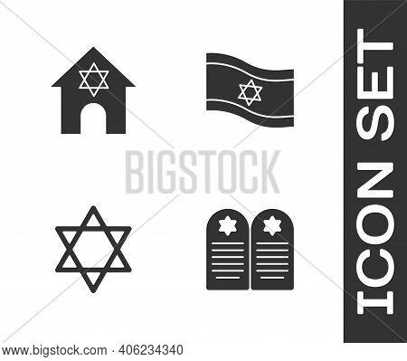 Set Tombstone With Star Of David, Jewish Synagogue, Star David And Flag Israel Icon. Vector