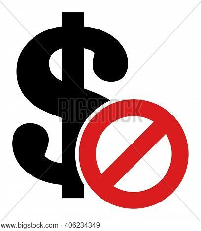 Forbidden Dollar Icon With Flat Style. Isolated Raster Forbidden Dollar Icon Illustrations, Simple S