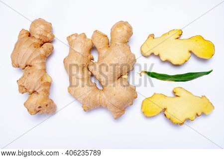 Fresh Organic Ginger Rhizome Root Used In Traditional Medicines And For Flavoring Meals, Drinks, Iso
