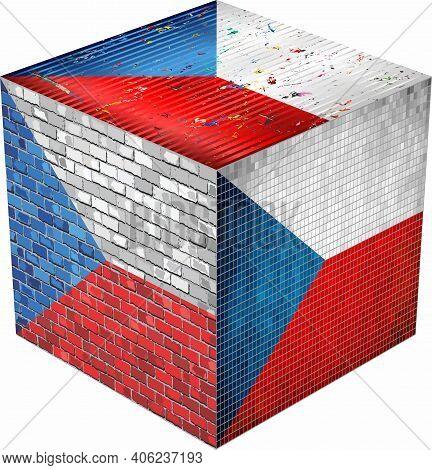 Czech Cube - Illustration,  Abstract Grunge Mosaic Flag Of Czech