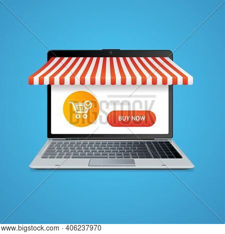 Realistic 3d Detailed Ecommerce Concept Include Of Screen Laptop With Application. Vector Illustrati