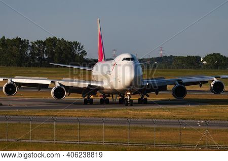 Vienna, Austria - May 13, 2018: Asiana Cargo Boeing 747-400 Hl7420 Cargo Plane Arrival And Landing A