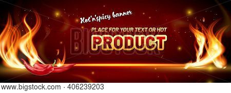 Abstract Hot And Spicy Banner Background With Flames, Red Peppers, Shiny Lights And Copy Space For Y