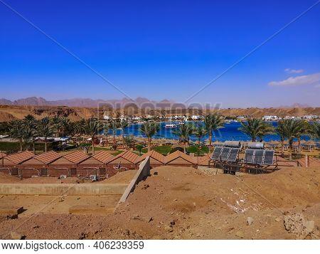 View Of Sharm El-maya Bay From A Desert Mountain In Sharm El Sheikh (egypt). Beautiful Tropical Land