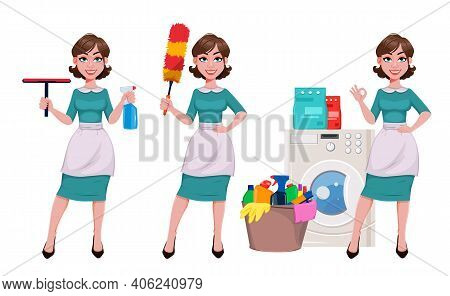 Young Cheerful Housekeeper, Mother, Beautiful Successful Woman. Cheerful Lady, Housewife In Apron, S