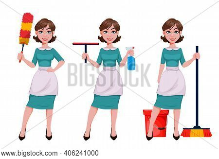 Young Cheerful Housekeeper, Mother, Beautiful Successful Woman. Cheerful Lady, Housewife In Apron Pr