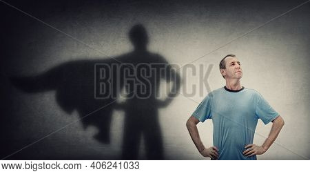 Confident And Optimistic Middle Aged Man, Hands On Hips Showing Chest, Brave Gesture, Like A Powerfu