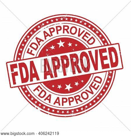 Fda Approved Vector Stamp. Grunge Red Rubber Stamp Or Badge With Text Fda Approved .