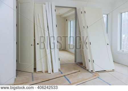 New Home Installing Material For Repairs In An Apartment Is Under Construction Door For A Under Cons