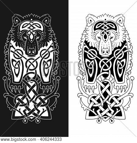Grizzly Bear In Celtic Style. Sketch For A Tattoo.