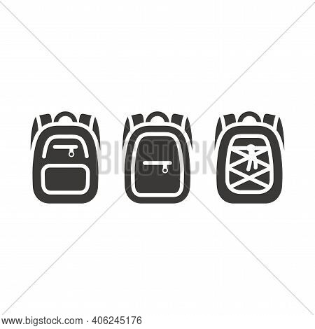 Backpack Simple Black Isolated Vector Icon. Bag, Hand Luggage Or Back Pack Glyph Symbol.