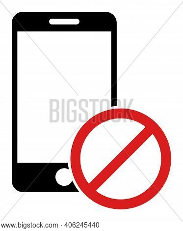 Deny Smartphone Icon With Flat Style. Isolated Vector Deny Smartphone Icon Illustrations, Simple Sty