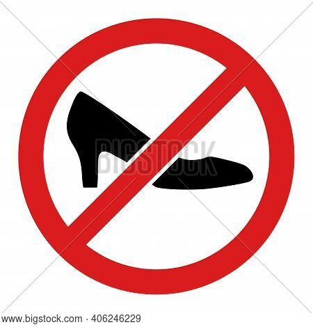 Forbidden Shoes Icon With Flat Style. Isolated Vector Forbidden Shoes Icon Illustrations, Simple Sty
