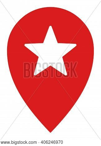Star Place Marker Icon With Flat Style. Isolated Vector Star Place Marker Icon Image, Simple Style.