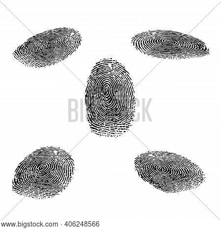 Black Fingerprint Isometric Silhouettes Isolated On Whitebackground
