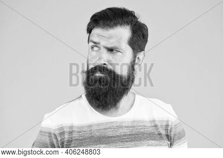 Not Good Day. Mature Hipster With Beard. Serious Unshaven Man With Beard. Beard And Skin Care. Confi