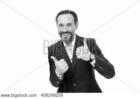 Businessman. Happy Businessmen Give Thumbs Up Hands. Bearded Man Smile With Thumbs Up Gesture. Gestu