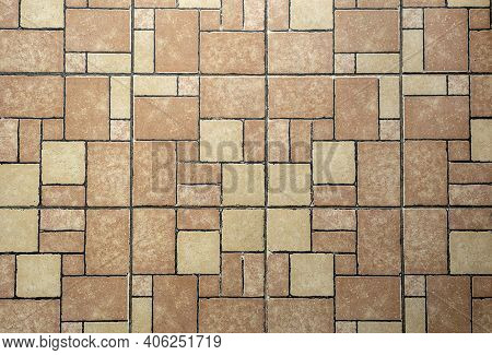 Background From Paving Slabs. Texture Of Natural Stone Slabs Of Various Shapes