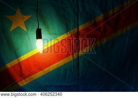 Congo Flag Lit By A Lamp. Congo Flag