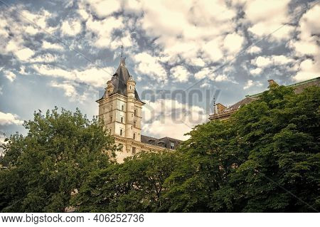 Paris. Tower On Cloudy Sky. High Beautiful Tower. Overrated Tourist Attractions. Building Tower And