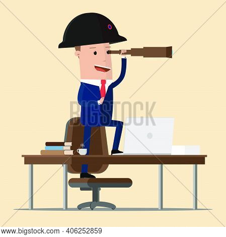 Businessman In Napoleon Hat Standing On Table And Looking Through Spyglass.  Business Perspective. V