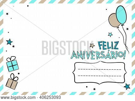 Portuguese Happy Birthday Postcard With Balloons And Gift Boxes. Cute Greeting Card. Hand Drawn Enve