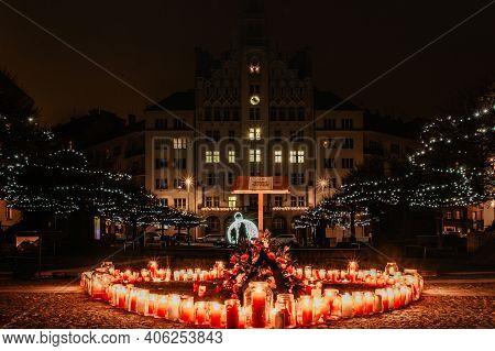 Prague, Czech Republic - December 18, 2020. Heart Made Of Candles In Memory Of Vaclav Havel, Czech S