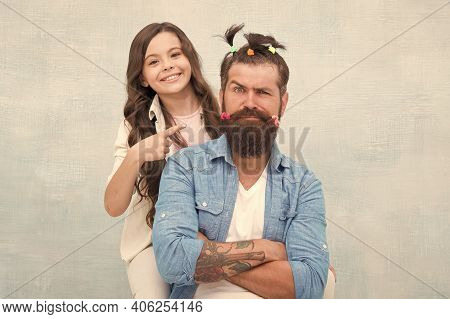Daughter Playing With Hair. Quarantine With Children. Happy Family. Ideas To Entertain Kids During Q