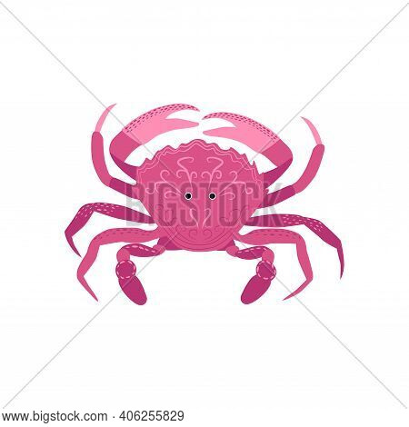Funny Red Crab Hand Drawn. Cute Sea Life, Adorable Crustacean Cartoon Character. Underwater Animal W