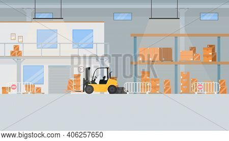Warehouse With A Lot Of Boxes. Warehouse For Storing Orders. Forklift In A Warehouse With Boxes. Vec