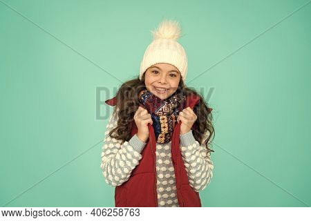 Cold Winter Days. Vacation Time. Stay Active During Season. Kid Wear Knitted Warm Clothes. Winter Vi