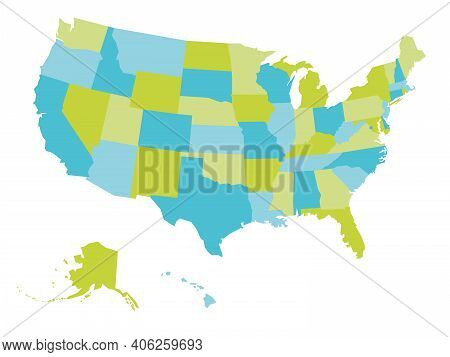Blank Map Of United States Of America, Usa. Simple Flat Vector Illustration