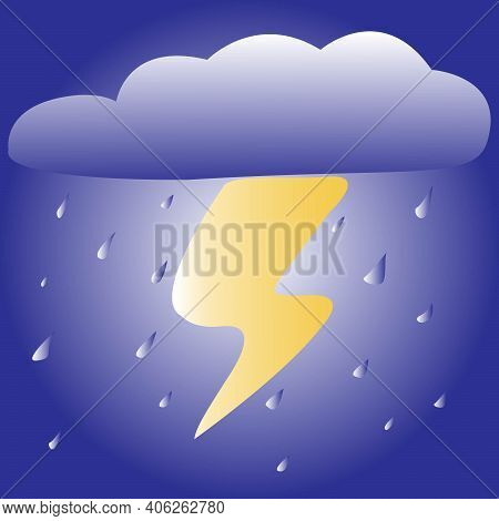 Color Vector Image Of A Thundercloud With Lightning And Raindrops Made In The Form Of A Weather Icon