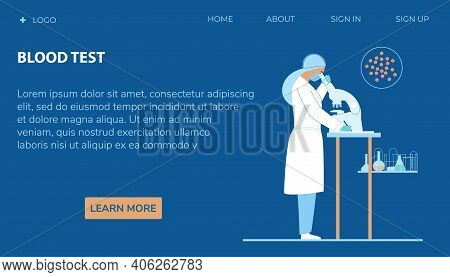 Blood Test Web Page Vector Template. Woman Doctor Or Scientist In White Coat Looking Through A Micro