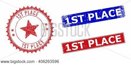 Rectangle And Round 1st Place Seal Stamps With Icon Inside. Blue And Red Textured Seal Stamps With 1