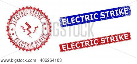 Rectangle And Round Electric Strike Seal Stamps With Icon Inside. Blue And Red Textured Seal Stamps