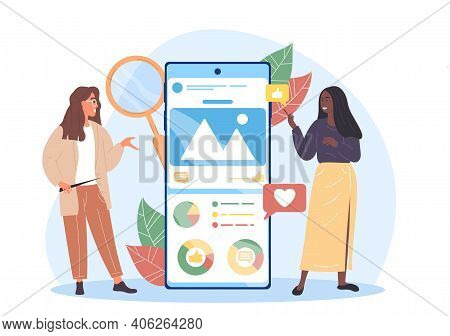 Two Female Characters Are Analysing Social Media. Social Media Marketer Analyzes Her Clients Adverti