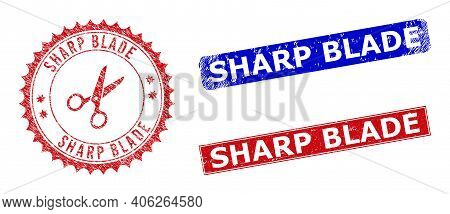 Rectangle And Round Sharp Blade Seal Stamps With Icon Inside. Blue And Red Distress Seal Stamps With