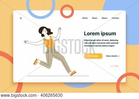 Clumsy Woman Running On Wet Floor. Cartoon Female Character Slipping And Falling Flat Vector Illustr