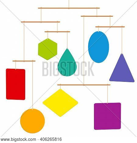 Mobile Sculpture With Colorful Shapes Hanging Balanced On Cords And Wooden Rods. Isolated Vector Ill