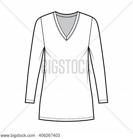 T-shirt Dress Technical Fashion Illustration With V-neck, Long Sleeves, Mini Length, Oversized Body,
