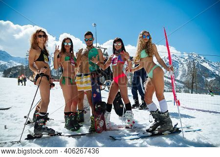 Ski Resort In Sochi. Snow And Warm Sunny Weather In The Caucasian Mountains.