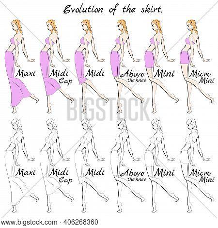 Evolution Of The Skirt. Skirt Length. A Visual Representation Of The Length Of The Skirt On The Figu