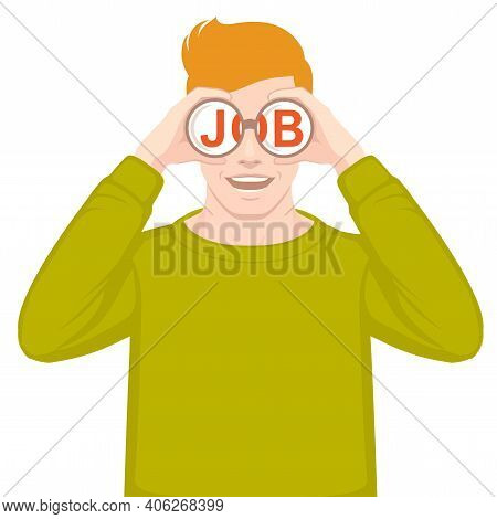 Man, Person With A Binocular. Looking For Job. Vector Illustration Hr, Searching, Looking For Talent